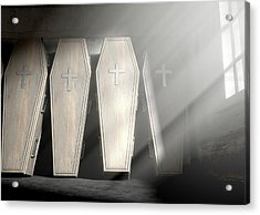 Coffin Row In A Room Acrylic Print by Allan Swart