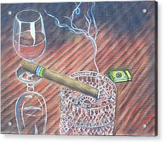 Cohiba And  Wine Acrylic Print by Charles Vaughn