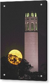 Coit Tower And Harvest Moon Acrylic Print