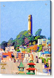 Coit Tower And The Empress Of China - Photo Artwork Acrylic Print by Wingsdomain Art and Photography