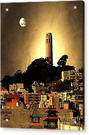 Coit Tower And The Empress Of China Under The Golden Moonlight Acrylic Print by Wingsdomain Art and Photography