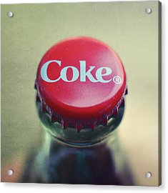 Coke Bottle Cap Square Acrylic Print by Terry DeLuco