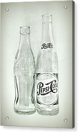 Coke Or Pepsi Black And White Acrylic Print by Terry DeLuco