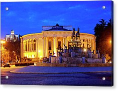 Acrylic Print featuring the photograph Colchis Fountain And Georgian Drama Theatre Lado Meskhishvili by Fabrizio Troiani
