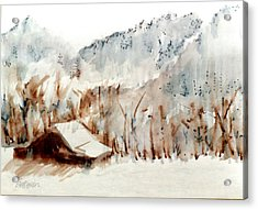 Acrylic Print featuring the mixed media Cold Cove by Seth Weaver
