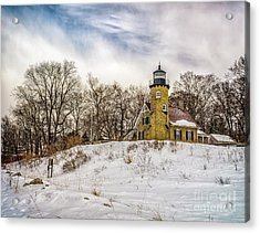 Acrylic Print featuring the photograph Cold Day At White River Lighthouse by Nick Zelinsky