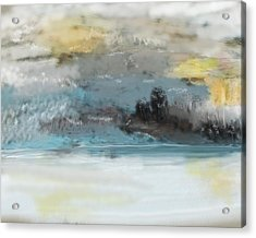 Cold Day Lakeside Abstract Landscape Acrylic Print by David Lane