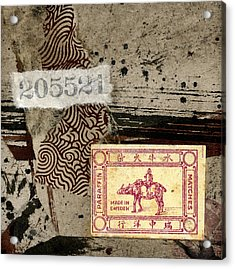 Collage Envelope Detail Monkey Water Buffalo Acrylic Print by Carol Leigh