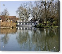 College Barge At Sandford Uk Acrylic Print by Mike Lester