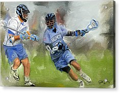 College Lacrosse Attack Acrylic Print by Scott Melby