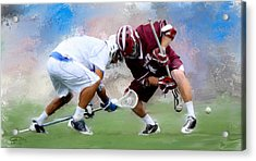 College Lacrosse Faceoff 4 Acrylic Print by Scott Melby