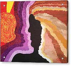 Acrylic Print featuring the painting Collision by Carolyn Cable