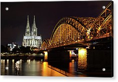 Cologne Cathedral And Bridge Acrylic Print by Holger Ostwald