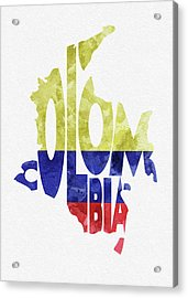 Colombia Typographic Map Flag Acrylic Print