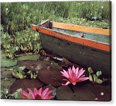 Colombian Boat And Flowers Acrylic Print by Lawrence Costales