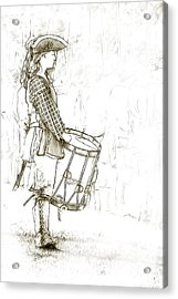 Colonial Drummer Portrait Sketch Acrylic Print by Randy Steele