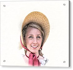 Colonial Girl With Hat Acrylic Print by Randy Steele