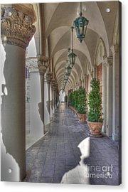 Colonnade At The Venetian Acrylic Print by David Bearden
