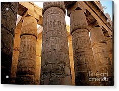 Colonnade In The Karnak Temple Complex At Luxor Acrylic Print by Sami Sarkis