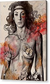 Colony Collapse Disorder - Topless Warrior Woman With Leaves On Nude Breasts Acrylic Print