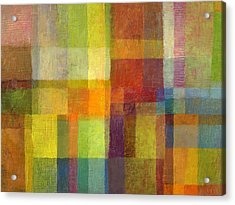 Acrylic Print featuring the painting Color Collage With Green And Red 2.0 by Michelle Calkins