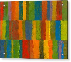 Acrylic Print featuring the painting Color Collage With Stripes by Michelle Calkins