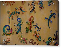 Color Lizards On The Wall Acrylic Print by Rob Hans