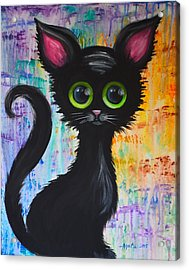 Color Rain And A Cat Acrylic Print by Agata Lindquist