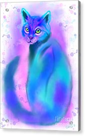 Acrylic Print featuring the painting Color Wash Cat by Nick Gustafson