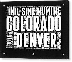 Colorado Black And White Word Cloud Map Acrylic Print by Naxart Studio