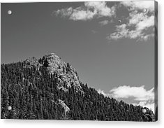 Acrylic Print featuring the photograph Colorado Buffalo Rock With Waxing Crescent Moon In Bw by James BO Insogna