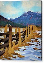 Acrylic Print featuring the painting Colorado Fence Line  by Jeff Kolker