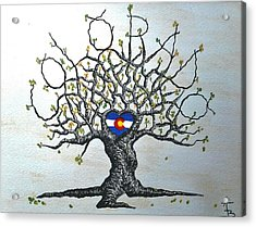 Acrylic Print featuring the drawing Colorado Flag Love Tree by Aaron Bombalicki