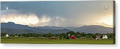 Colorado Front Range Lightning And Rain Panorama View Acrylic Print