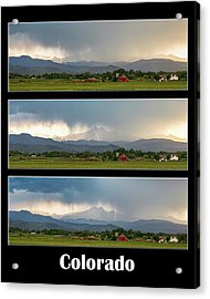 Acrylic Print featuring the photograph Colorado Front Range Longs Peak Lightning And Rain Poster by James BO Insogna