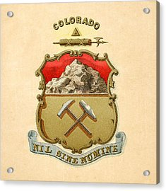 Colorado Historical Coat Of Arms Circa 1876 Acrylic Print by Serge Averbukh
