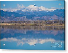 Colorado Longs Peak Circling Clouds Reflection Acrylic Print