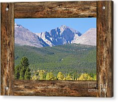 Colorado Longs Peak Rustic Wood Window View Acrylic Print by James BO Insogna