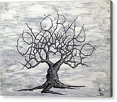 Acrylic Print featuring the drawing Colorado Love Tree Blk/wht by Aaron Bombalicki
