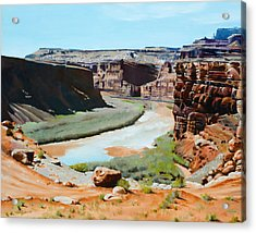 Colorado River Bend Acrylic Print by Lester Nielsen