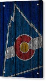 Colorado Rockies Wood Fence Acrylic Print
