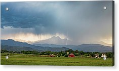 Acrylic Print featuring the photograph Colorado Rocky Mountain Red Barn Country Storm by James BO Insogna