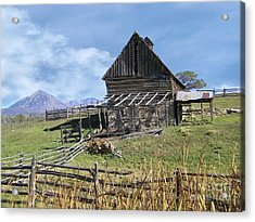 Colorado Rocky Mountain Vintage Barn   Acrylic Print