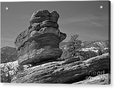 Acrylic Print featuring the photograph Colorado Springs Balanced Rock Black And White by Adam Jewell