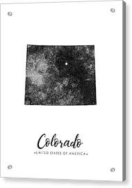 Colorado State Map Art - Grunge Silhouette Acrylic Print