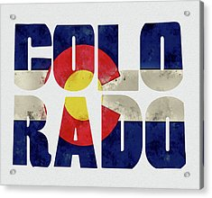 Colorado Typography Map Flag Acrylic Print by Kevin O'Hare