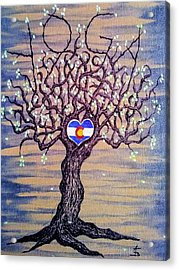 Acrylic Print featuring the drawing Colorado Yoga Love Tree by Aaron Bombalicki