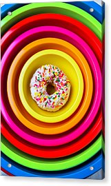 Colored Bowls And Donut Acrylic Print by Garry Gay