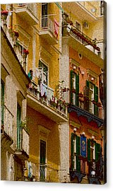 Colored Buildings Amalfi Italy Acrylic Print by Xavier Cardell
