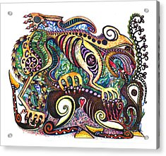 Colored Cultural Zoo D Version 2 Acrylic Print